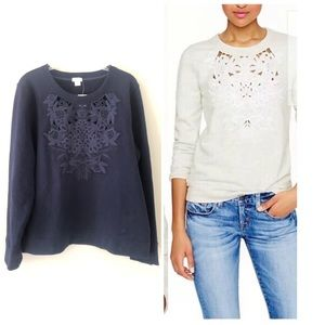 J. Crew • cut out lace embroidered sweatshirt